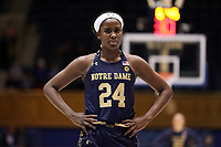 DURHAM, NC - JANUARY 16: Destinee Walker #24 of Notre Dame University waits at the free throw line during a game between Notre Dame and Duke at Cameron Indoor Stadium on January 16, 2020 in Durham, North Carolina.