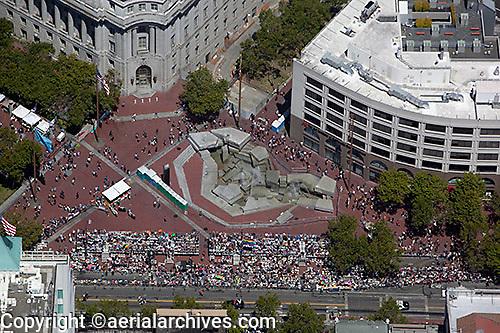 aerial photograph UN Plaza gay pride parade San Francisco, California
