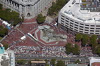 aerial photograph of the UN Plaza during the San Francisco Pride Festival, San Francisco, California