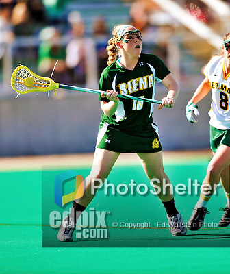 17 March 2010: Siena Saints' defender Lauren Corso, a Sophomore from Camillus, NY, in action against the University of Vermont Catamounts at Moulton Winder Field in Burlington, Vermont. The Lady Cats fell to the visiting Saints 14-11. Mandatory Photo Credit: Ed Wolfstein Photo