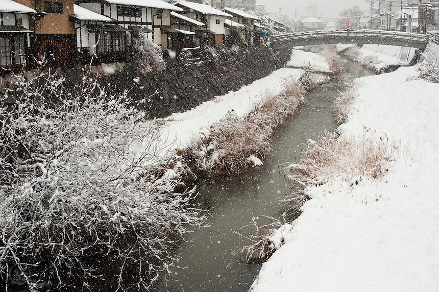 Nawate Street Snowfall, Metoba River, Matsumoto, Nagano, Japan.