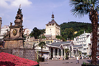 Trinity Column and Dance Pavilion  on Trziste Street, Carlsbad, Karlovy Vary, Czech Republic. This is the oldest and best known spa town of western Bohemia, founded by Charles IV in 1370.
