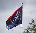AMSTELVEEN - regenboogvlag bij Pinoke.  Hoofdklasse competitie heren. Pinoke-SCHC (0-1) . COPYRIGHT  KOEN SUYK