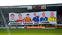 Fernando Ricksen Testimonial :  A banner is draped from the stand being named after Fernando Ricksen.