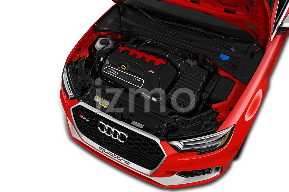 Car Stock 2019 Audi RS-3 4WD 4 Door Sedan Engine  high angle detail view