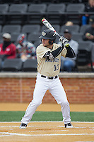 Nate Mondou (10) of the Wake Forest Demon Deacons at bat against the Harvard Crimson at David F. Couch Ballpark on March 5, 2016 in Winston-Salem, North Carolina.  The Crimson defeated the Demon Deacons 6-3.  (Brian Westerholt/Four Seam Images)