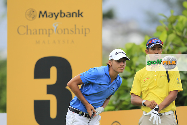 Joakim Lagergren (SWE) in action on the 3rd tee during Round Two of the Maybank Championship Malaysia 2016, at the Royal Selangor Golf Club, Kuala Lumpur, Malaysia.  19/02/2016. Picture: Golffile | Thos Caffrey.<br /> <br /> All photos usage must carry mandatory copyright credit (&copy; Golffile | Thos Caffrey).