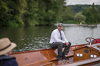 Henley on Thames, United Kingdom. 2016 Henley Masters' Regatta. Henley Reach. England. on Saturday  09/07/2016   [Mandatory Credit/ Peter SPURRIER/Intersport Images]<br /> <br /> Umpires Launch, Driver, Rowing, Henley Reach, Henley Masters' Regatta.<br /> <br /> General View,  Henley Reach, venue, for the 2016 Henley Masters Regatta.