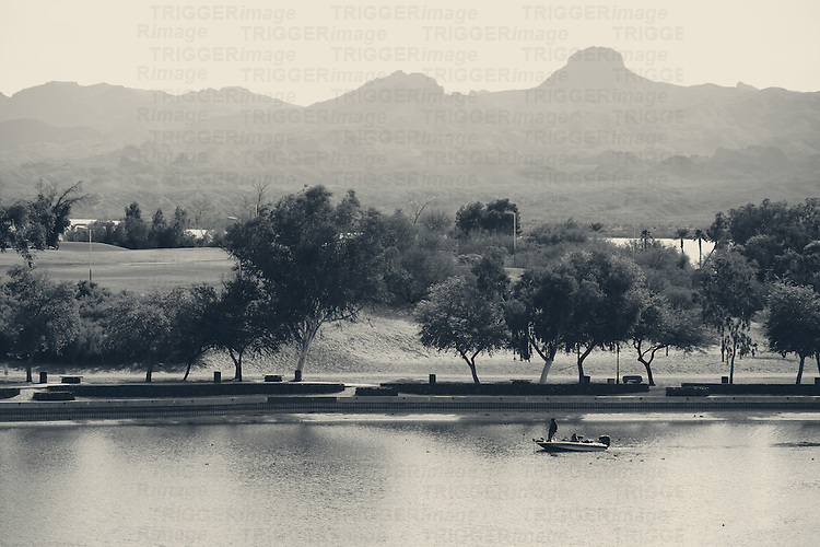 The shores of Lake Havasu with a promenade and a park and golf course.