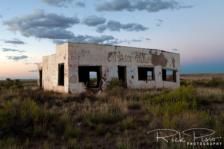 The abandoned Painted Desert Trading Post along a bypassed section of Route 66 in Arizona.