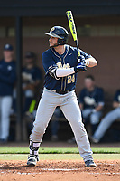 Shortstop David Yanni (24) of the Pittsburgh Panthers bats in a game against the University of South Carolina Upstate Spartans on Saturday, February 24, 2018, at Cleveland S. Harley Park in Spartanburg, South Carolina. Pittsburgh won, 3-1. (Tom Priddy/Four Seam Images)