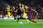 UEFA Champions League 2013/2014.<br /> Quarter-finals 1st leg.<br /> FC Barcelona vs Club Atletico de Madrid: 1-1.<br /> Diego Godin vs Andres Iniesta.