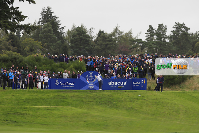 Angel Yin of Team USA on the 2nd tee during Day 2 Fourball at the Solheim Cup 2019, Gleneagles Golf CLub, Auchterarder, Perthshire, Scotland. 14/09/2019.<br /> Picture Thos Caffrey / Golffile.ie<br /> <br /> All photo usage must carry mandatory copyright credit (© Golffile | Thos Caffrey)