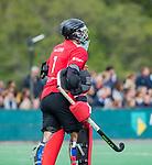 BLOEMENDAAL - keeper Loic van Doren (Den Bosch)    tijdens de hoofdklasse competitiewedstrijd hockey heren,  Bloemendaal-Den Bosch (2-1).  COPYRIGHT KOEN SUYK