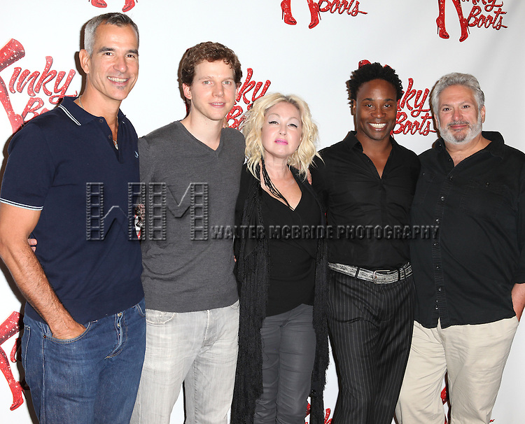 Director Jerry Mitchell, Producer Daryl Roth,Stark Sandss, Cyndi Lauper (Music), Billy Porter, Harvey Fierstein (Book) & Producer Hal Luftig attending the Meet & Greet the Cast & Creative Team of the New Broadway Musical 'Kinky Boots' at the New 42nd Street Studios in New York City on September 14, 2012.