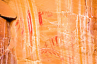 Ancient Barrier Canyon rock art, Wilderness Study Area, Utah Rock paintings. pictographs, on canyon wall.