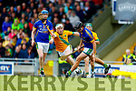 Daniel Collins Kilmoyley in action against Michael Quilter Lixnaw in the Kerry County Senior Hurling championship Final at Austin Stack Park on Sunday.