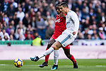 Cristiano Ronaldo of Real Madrid attempts a kick during the La Liga 2017-18 match between Real Madrid and Sevilla FC at Santiago Bernabeu Stadium on 09 December 2017 in Madrid, Spain. Photo by Diego Souto / Power Sport Images