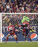 FC Dallas goalkeeper Ray Burse (30) punches ball out on corner kick. The New England Revolution defeated FC Dallas, 2-1, at Gillette Stadium on April 4, 2009. Photo by Andrew Katsampes /isiphotos.com