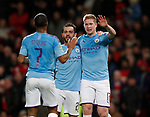 Kevin De Bruyne of Manchester City celebrates scoring the third from afflicted shot during the Carabao Cup match at Old Trafford, Manchester. Picture date: 7th January 2020. Picture credit should read: Darren Staples/Sportimage