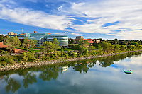 Reflection od Medicine Hat skyline along the South Saskatchewan River<br /> Medicine Hat<br /> Alberta<br /> Canada