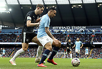 Manchester City's Gabriel Jesus shields the ball from Burnley's James Tarkowski<br /> <br /> Photographer Rich Linley/CameraSport<br /> <br /> Emirates FA Cup Fourth Round - Manchester City v Burnley - Saturday 26th January 2019 - The Etihad - Manchester<br />  <br /> World Copyright © 2019 CameraSport. All rights reserved. 43 Linden Ave. Countesthorpe. Leicester. England. LE8 5PG - Tel: +44 (0) 116 277 4147 - admin@camerasport.com - www.camerasport.com