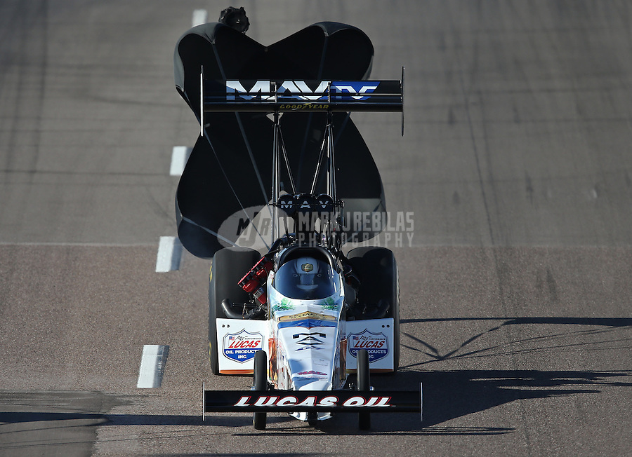 Feb. 23, 2013; Chandler, AZ, USA; NHRA top fuel dragster driver Brandon Bernstein during qualifying for the Arizona Nationals at Firebird International Raceway. Mandatory Credit: Mark J. Rebilas-