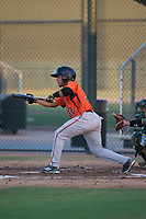 AZL Giants Orange shortstop Anyesber Sivira (32) shows bunt during an Arizona League game against the AZL Athletics at Lew Wolff Training Complex on June 25, 2018 in Mesa, Arizona. AZL Giants Orange defeated the AZL Athletics 7-5. (Zachary Lucy/Four Seam Images)