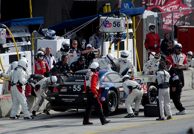 Monterey California, May 4, 2014, Laguna Seca Monterey Grand Prix, BMW no 55 makes its last pit stop int he race