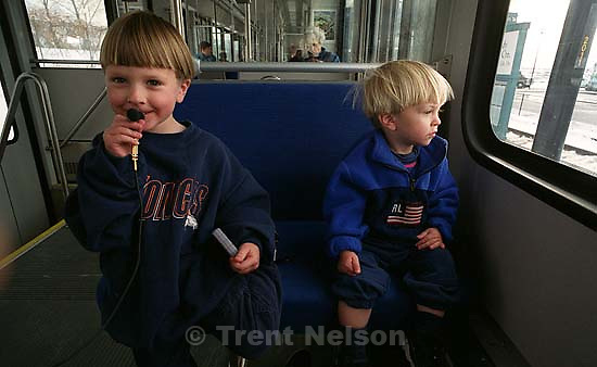 Noah Nelson and Nathaniel Nelson on our first train ride (Traxx)<br />