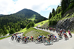 The peloton descend during Stage 8 of the Criterium du Dauphine 2019, running 113.5km from Cluses to Champery, Switzerland. 16th June 2019.<br /> Picture: ASO/Alex Broadway | Cyclefile<br /> All photos usage must carry mandatory copyright credit (© Cyclefile | ASO/Alex Broadway)