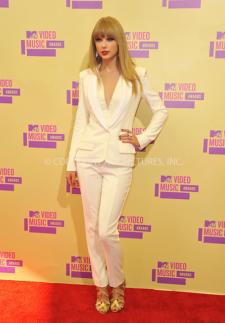 WWW.ACEPIXS.COM....September 6, 2012, Los Angeles, CA.......Taylor Swift arriving at the 2012 MTV Video Awards at the Staples Center on September 6, 2012 in Los Angeles, California. ..........By Line: Peter West/ACE Pictures....ACE Pictures, Inc..Tel: 646 769 0430..Email: info@acepixs.com
