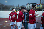Players of Turkiyemspor Berlin congratulate each other at the final whistle at the Willy-Kressmann-Stadion after they played BSC Rehberge in a Berlin Landesliga fixture which they won 3-0. The club was formed in 1978 to represent members of Berlin's large Turkish community and achieved several promotions and local cup wins throughout the first 15 years of their existence. Since then, financial problems have led to successive relegations and they now find themselves in the city's second division.