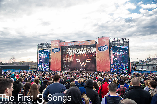 Weezer performs at White River State Park in Indianapolis, Indiana.
