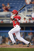 Batavia Muckdogs Kris Goodman (8) at bat during a game against the Brooklyn Cyclones on July 6, 2016 at Dwyer Stadium in Batavia, New York.  Batavia defeated Brooklyn 15-2.  (Mike Janes/Four Seam Images)