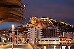 Santa Barbara castle from Alicante port, Alicante city, Spain