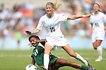 30 September 2012: UNC's Katie Bowen (NZL) (15) steps through a tackle by Miami's Blake Stockton (29). The University of North Carolina Tar Heels defeated the University of Miami Hurricanes 6-1 at Fetzer Field in Chapel Hill, North Carolina in a 2012 NCAA Division I Women's Soccer game.