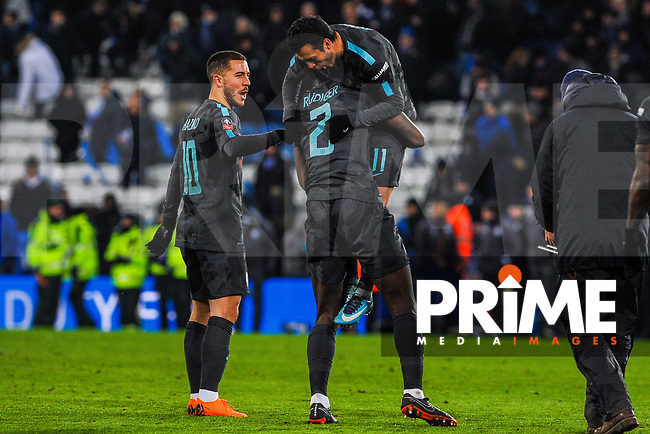 Chelsea's Antonio Rudiger picks up Pedro as they celebrate the win during the FA Cup QF match between Leicester City and Chelsea at the King Power Stadium, Leicester, England on 18 March 2018. Photo by Stephen Buckley / PRiME Media Images.