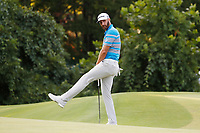 Dustin Johnson (USA) reacts to missing a putt on the 17th hole during the third round of the 100th PGA Championship at Bellerive Country Club, St. Louis, Missouri, USA. 8/11/2018.<br /> Picture: Golffile.ie | Brian Spurlock<br /> <br /> All photo usage must carry mandatory copyright credit (&copy; Golffile | Brian Spurlock)