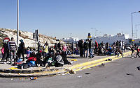 Pictured: Migrants at the port Monday 22 February 2016<br /> Re: Thousands of migrants, most from Syria, have landed to the port of Pireaus, after crossing the border from Turkey to various islands like Lesvos and Kos in Greece.