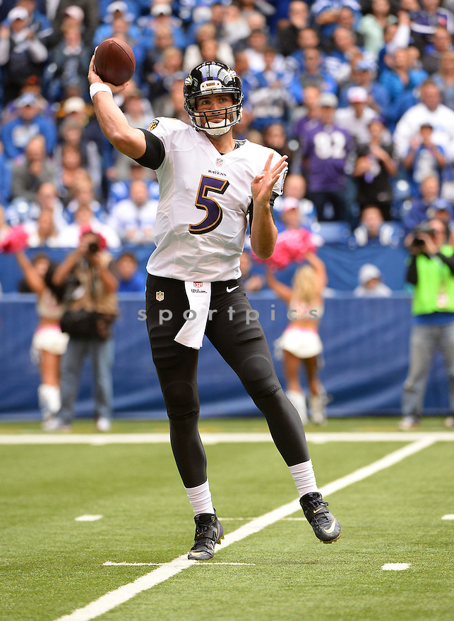 Baltimore Ravens Joe Flacco (5) during a game against the Indianapolis Colts on October 5, 2014 at Lucas Oil Stadium in Indianapolis, IN. The Colts beat the Ravens 20-13.