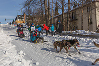 Cindy Gallea on Cordova St. hill during the Anchorage start day of Iditarod 2018 on Cordova St. hill during the Anchorage start day of Iditarod 2019