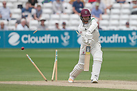 Jack Brooks of Somerset is bowled out by Aaron Beard to win the match during Essex CCC vs Somerset CCC, Specsavers County Championship Division 1 Cricket at The Cloudfm County Ground on 25th June 2019