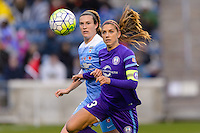Bridgeview, IL, USA - Sunday, May 1, 2016: Chicago Red Stars defender Katie Naughton (5) and Orlando Pride forward Alex Morgan (13) during a regular season National Women's Soccer League match between the Chicago Red Stars and the Orlando Pride at Toyota Park. Chicago won 1-0.
