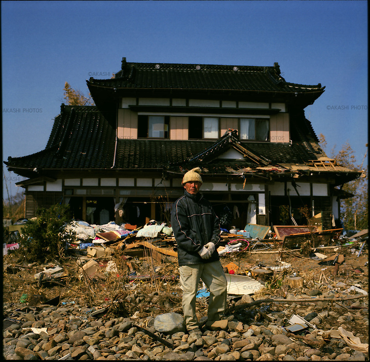On May 11, 2011, earthquake of magnitude 9.0 and devastating tsunami hit the Tohoku area, killing more than 15,000 people and missing more than 5,000 people. Shigeru Hino, 76, in front of his house that is only house that survived tsunami in Saichi district in Kensennuma, Miyagi.