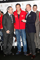 Real Madrid player Mesut Ozil (c) and the President Florentino Perez participate and receive new Audi during the presentation of Real Madrid's new cars made by Audi at the Jarama racetrack on November 8, 2012 in Madrid, Spain.(ALTERPHOTOS/Harry S. Stamper) .<br />