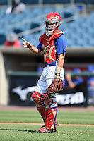 Jake Barnwell (13) of Boyd County High School in Catlettsburg, KY playing for the Chicago Cubs scout team during the East Coast Pro Showcase on July 31, 2014 at NBT Bank Stadium in Syracuse, New York.  (Mike Janes/Four Seam Images)