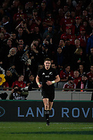Jordie Barrett runs back after his try during the 2017 DHL Lions Series rugby union 3rd test match between the NZ All Blacks and British & Irish Lions at Eden Park in Auckland, New Zealand on Saturday, 8 July 2017. Photo: Dave Lintott / lintottphoto.co.nz