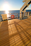 Cruiseship deck detail at sunset