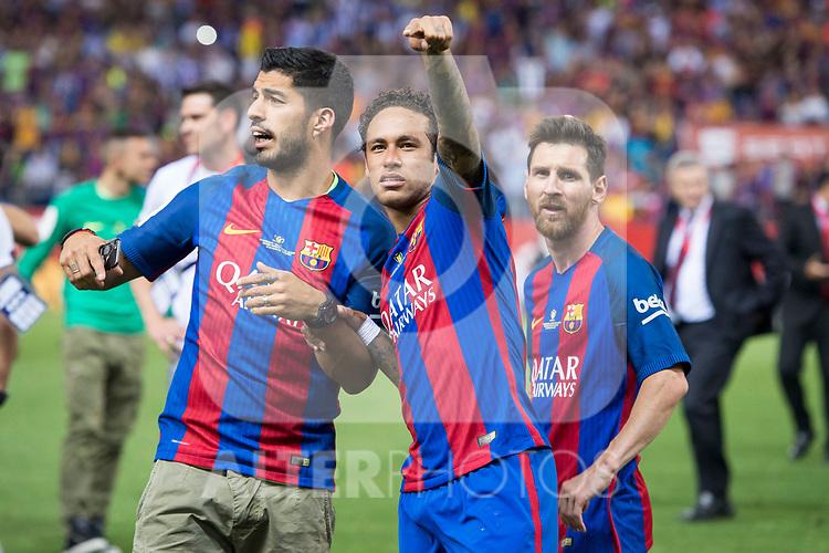 FC Barcelona's forward Luis Suarez, forward Neymar Santos Jr and forward Leo Messi after Copa del Rey (King's Cup) Final between Deportivo Alaves and FC Barcelona at Vicente Calderon Stadium in Madrid, May 27, 2017. Spain.<br /> (ALTERPHOTOS/BorjaB.Hojas)